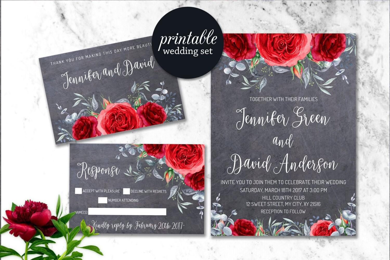 Winter Wedding Invitation Floral Wedding Invitation Printable
