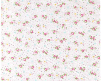 HALF YARD Yuwa - Light Pink Petit Berry on White - Atsuko Matsuyama 826346-E - Mini Petite Pink Strawberries Blue Flowers - Japanese Import