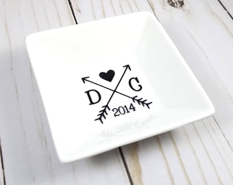 Anniversary Jewelry Dish, Couple Gift, Bridal Gift, Gift for Bride, Ring Dish, Trinket Dish, Ring Holder,