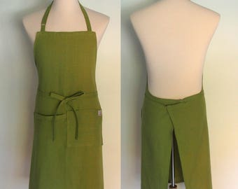 Linen Chef Apron with Pockets and Towel Loop in Olive Green, Men's Linen Apron, Extra Wide Apron, Oasis Linen, Gourmet Gift, Foodie Gift
