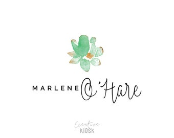 Simple Watercolor Logo Design. Minimalist PSD Template. Instant File Download. Boutique Branding. DIY Photography Watermark. #0204.
