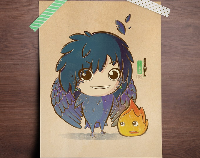 Featured listing image: Chibi Ghibli Print - Howl & Calcifer (Howl's Moving Castle)