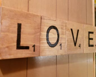 LOVE Scrabble tile wall decor