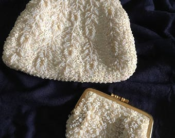 Vintage Beaded Evening Bag & Matching Change Purse, Vintage Clutch, SAFCO Bag, Beaded Bag, Made in Hong Kong