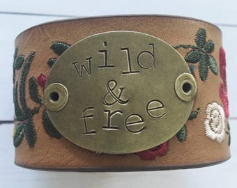 Wild and free embossed floral faux leather  cuff bracelet