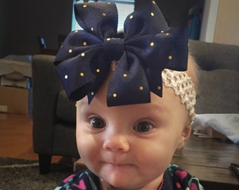 Glitz and Glam Bow, Gold and Navy (Hair Bow Attached By Band, Newborn-3 Yrs)