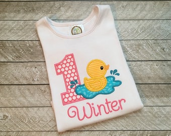 Girl first birthday shirt - 1st birthday girl outfit - Toddler girl clothes - Rubber duck birthday shirt - First birthday girl shirt