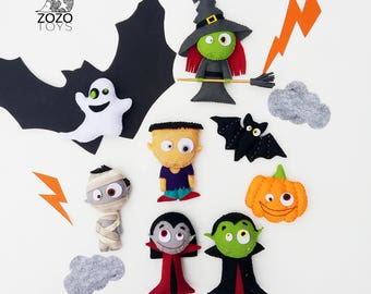 Felt Halloween Ornaments With Magnets - Scary Felt Toys - Halloween Gift - Cute Halloween Ornaments - Halloween Decorations Halloween Decor