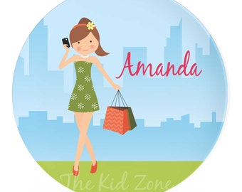 Personalized Melamine Plate 8 or 10 inch Plate Shopping Girl