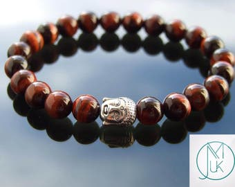 Buddha Red Tigers Eye Natural Gemstone Bracelet Beaded 7-8'' Elasticated Healing Stone Chakra Reiki With Pouch FREE UK SHIPPING