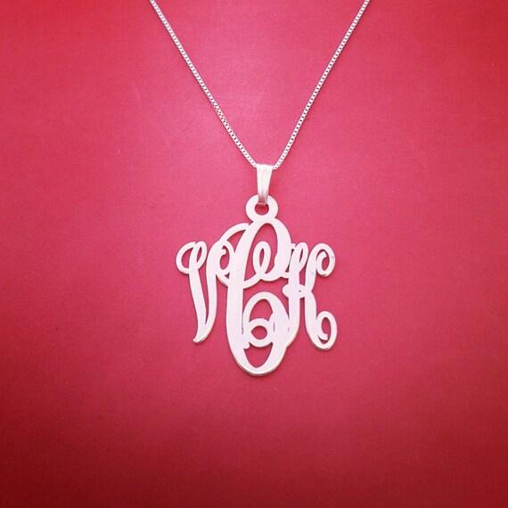 monogram necklace solid white gold monogram necklace. Black Bedroom Furniture Sets. Home Design Ideas