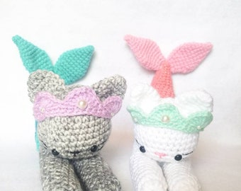 Merkitty Amigurumi Mermaid Cat Crochet Toy