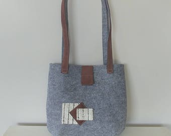 Felt Handbag with Suede, Leather and Fabric