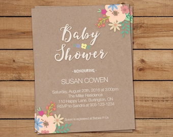 Floral Kraft Baby Shower Invitations, Floral Baby Shower Invitations, Floral Baby Shower, Baby Shower Invitations, Rustic Baby Shower