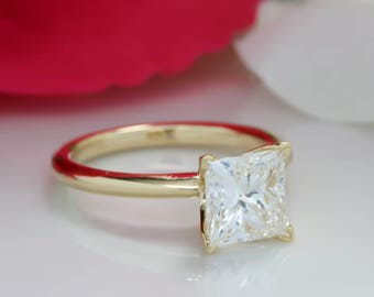 Knife Edge Moissanite Engagement Ring  Princess Cut Solitaire Rose Gold