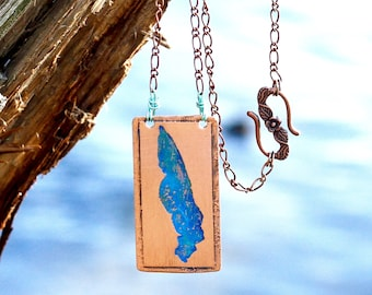 Lake Erie Copper Necklace, Great Lakes Necklace, Retirement Party Gift, Lake Life Necklace, Family Reunion Jewelry, Memory Gift Ideas, Lake