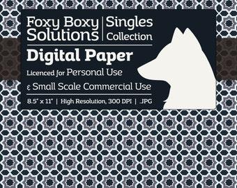 Moroccan Pattern Digital Paper - Single Sheet in Dark Blue, White, & Desaturated Violet - Printable Scrapbooking Paper