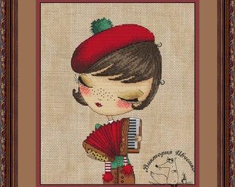 "Crossstitch pattern ""Frenchwoman"", size 66x119 crosses(12x22cm at 14 count),21 colors DMC"
