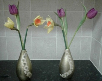 Upcycled pressed daisy vases