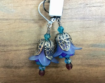 Blueberry Lily Bell Flower Earrings