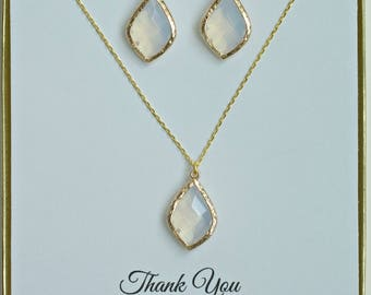 White Opal Gold Jewelry Sets for Bridesmaids, Opal Gold Necklace and Earring Set, Opal Wedding set, Asking Bridesmaid, MP1