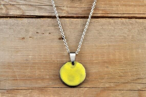 MEDIUM matte yellow round stoneware pendant