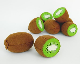 Tropical fruit Baby toys Kiwi whole and half Tropical kids toys Eco friendly baby toy fruits Baby shower gift Natural toy Soft toys for baby
