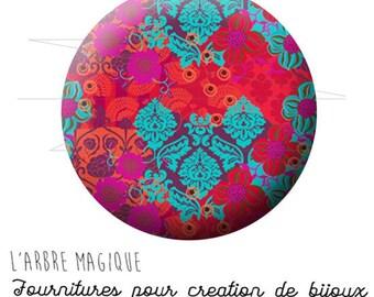 Cabochon fantasia 25mm indiano India indù di ispirazione colore fushia trquoise Rif 1707