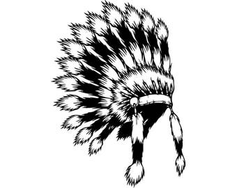 Indian Headdress #4 Native American Head Dress Tribe Chief Costume Ornate Feather Tattoo Logo .SVG .EPS .PNG Vector Cricut Cut Cutting File