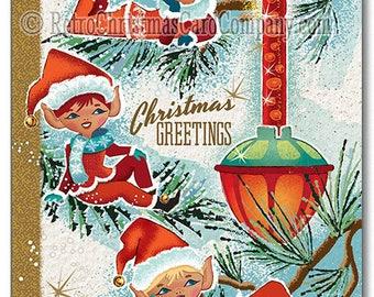 Bubble Light Elves Christmas Cards, 8 Cards + color env. | Vintage Christmas Cards | Retro Christmas Cards