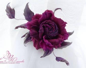 Purple Fuchsia Silk Flower Headpiece Rose, Silk Rose Garland, Silk Floral Crown Christening, Wedding Festival.  Hair Accessory,rose corsage