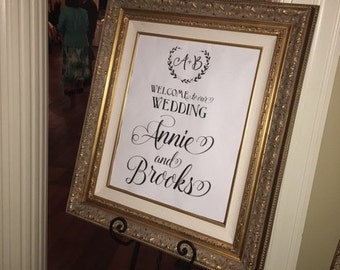DIY, 16x20 Wedding Welcome sign