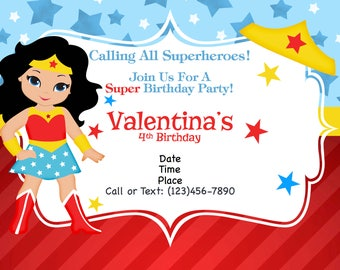 Supergirl and Superman Joint Birthday Party Invitation