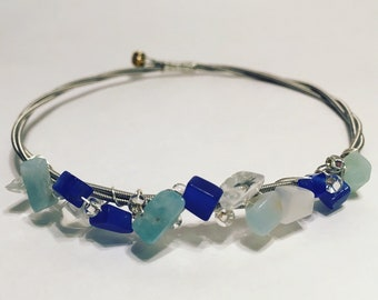 Blue Sea-Glass Upcycled Guitar String Bangle