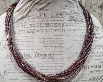 Simple Purple Twist Necklace - Multistrand Necklace - Beaded Necklace - Purple Necklace - Twisted Bead Necklace - Glass Beads - Spiral