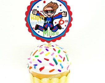 Skydiving Cupcake topper,  Custom cupcake toppers, Parachuting party, Skydiving birthday, Skydiver party, Parachuting birthday cupcake