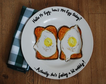 Fried Eggs on Toast Breakfast Fun Food Hand Painted Dinner Plate funny cute couple!
