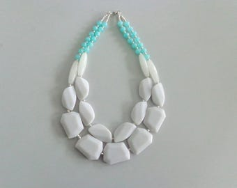 Statement white necklace, mint white necklace, white chunky necklace
