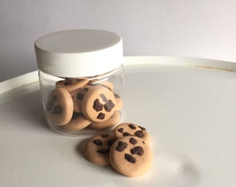 American food for 18 inch dolls. Chocolate Chip Doll Cookies in a plastic jar.