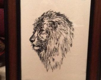 Lion  Embroidery art,framed, Majestic Lion, Embroidery print, Wildlife Lion embroidery picture, embroidered art framed