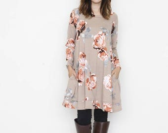Rose Print A Line Tunic With Pockets