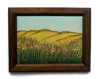 Fiber Art Framed textile Wall hanging Embroidered picture Home decor Gift for her