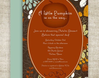 Little Pumpkin Lil' Punkin' BABY SHOWER Invitations Invite Brown Blue Orange Floral Digital diy Printable Personalized - 109174265