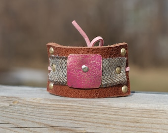 Leather, Tweed, Copper Hair Cuffs - Unique Hair Cuff Jewelry - Pink Hair Bun Cuff - Leather Hair Cuffs - Summer Hair Accessories - Pink Cuff