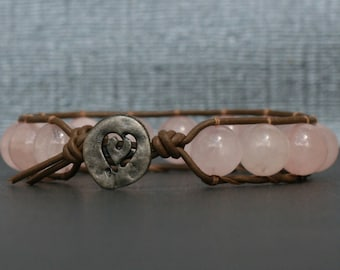 bohemian jewelry - rose quartz on chocolate brown leather single wrap bracelet - boho western gypsy - gifts for her - valentine's