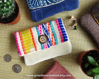Colorful Mexican Purse / Sling Bag - Aztec Coin Card Holder OR Crossbody Bag