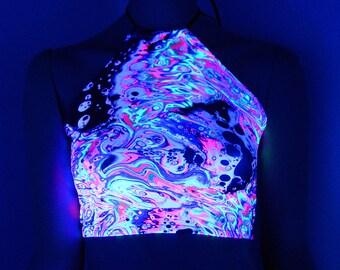 Neon Rainbow Acid Trippy Psychedelic UV Reactive Corset lacing adjustable size boho Rave Festival Halter Top - MTCoffinz