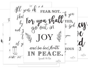 "7 Printables-Promises of Peace 8.5"" x 11"" Scripture Quotes - Instant Download"