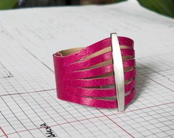 Pink Leather Cuff, Pink Cuff Bracelet, Fuchsia Bracelet