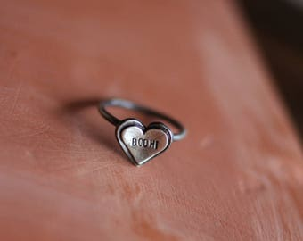 SALE - Custom Double Heart: personalize the center heart with initials, date, name, etc - sterling silver ring
